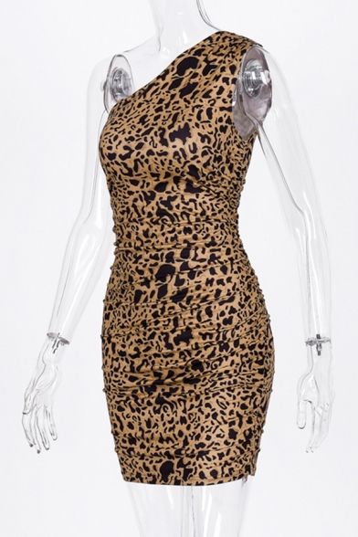 Ladies Retro Tiger Pattern One Shoulder Slim Fit Party Wear Mini Dress