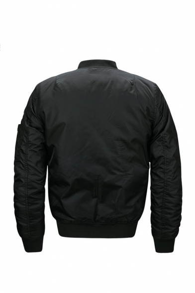 Mens Casual Plain Letter Ribbon Embellished Long Sleeve Zip Up Flight Jacket with Flap Pocket