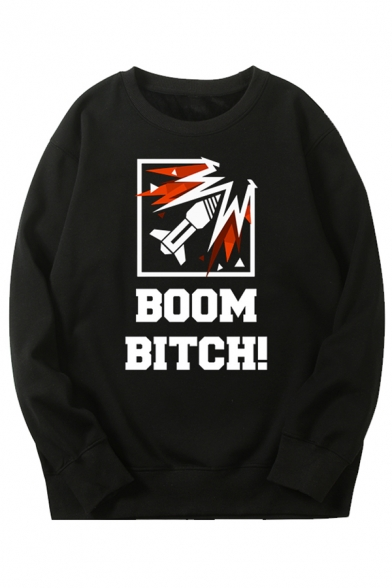 Mens Cool Cartoon Missile BOOM BITCH Printed Long Sleeve Black Pullover Graphic Sweatshirt