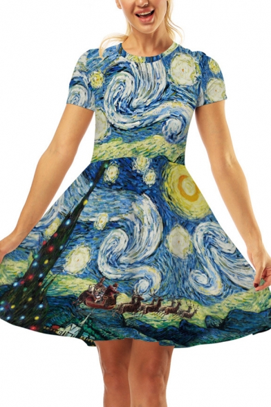 Popular Oil Painting Whirlpool Moon Starry Night 3D Printed Crew Neck Short Sleeve Midi T-shirt Dress
