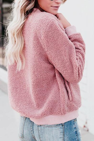 Stylish Pink Plain Stand Collar Long Sleeve Zipper Teddy Bear Jacket Coat