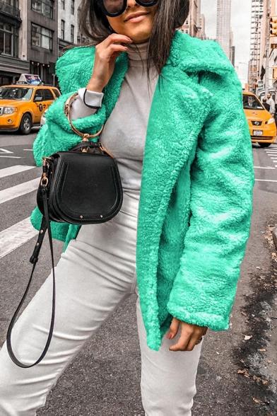 Winter Stylish Plain Long Sleeve Open Front Fluffy Fleece Loose Coat for Women