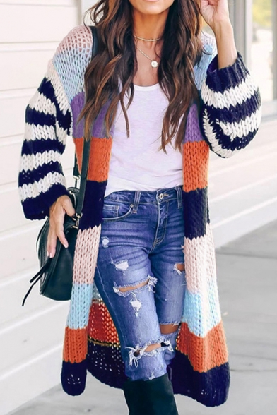 Women's Casual Contrast Color Striped Lantern Sleeve Open Front Purl Knit Long Cardigan Sweater
