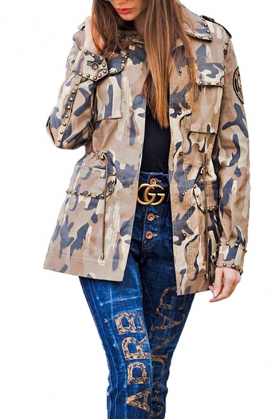 Womens Casual Camo Printed Rivets Badge Embellished Long Sleeve Work Jacket Coat with Pocket