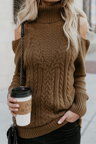 Womens Casual Coffee Turtle Neck Cold Shoulder Long Sleeve Slim Fit Chunky Knit Pullover Sweater