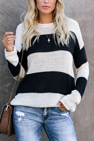 Womens Casual Wide Stripe Round Neck Long Sleeve Loose Fit Knitted Pullover Sweater