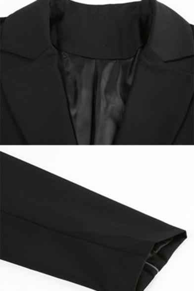 Womens Creative Reflective Tape Embellished Long Sleeve Single Button Black Longline Blazer Coat
