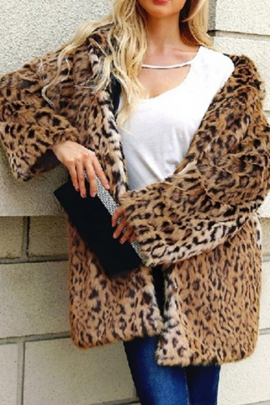 Womens Fashion Leopard Printed Long Sleeve Open Front Hooded Longline Faux Fur Coat