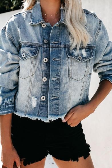 Womens Stylish Light Blue Lapel Collar Single Breasted Ripped Long Sleeve Raw Edges Short Jacket Coat