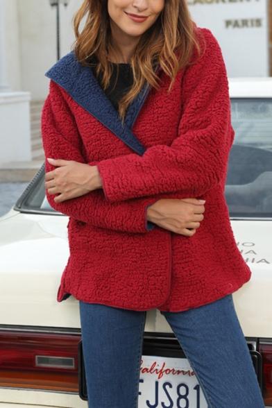 Womens Stylish Long Sleeve Loose Fit Reversible Teddy Bear Hooded Coat