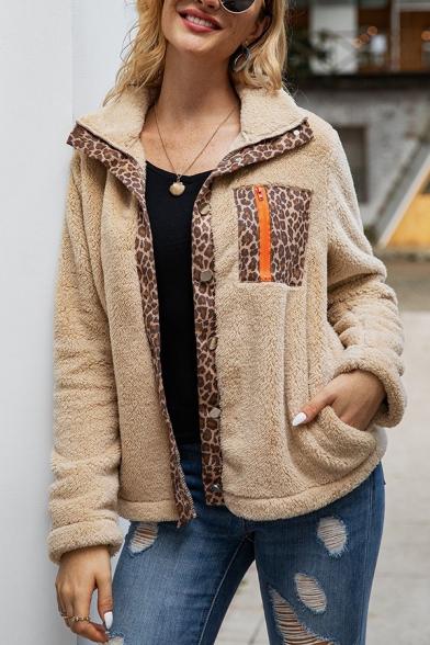 Womens Warm Leopard Patchwork Zipper Pocket Long Sleeve Button Front Fluffy Plush Coat