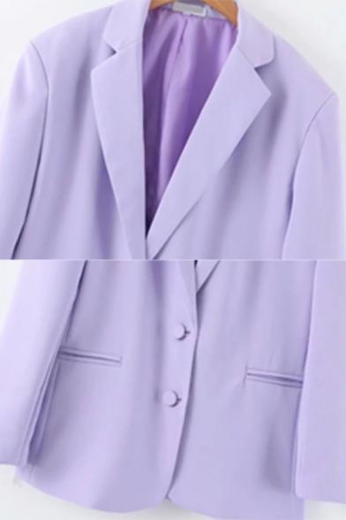 Light Purple Lapel Collar Long Sleeve Two Button Longline Loose Blazer Coat with Pocket