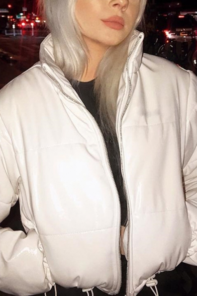 New Trend Plain Stand Up Collar Side Pocket Long Sleeve Crop Puffer Coat Down Jacket