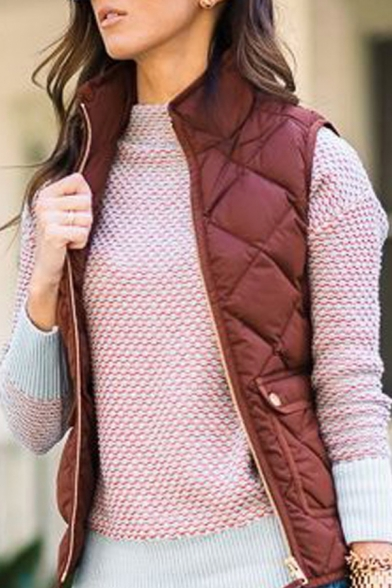 Winter Chic Solid Color Sleeveless Stand-Up Collar Flap Pocket Zip Up Fitted Quilted Vest