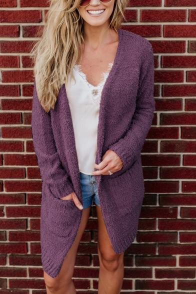 Winter Fashion Long Sleeve Open Front Plain Fuzzy Fleece Cardigan Coat with Big Pocket