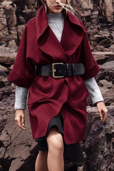 Women's Trendy Lapel Collar Half Sleeve Solid Color Longline Wool Coat with Pocket