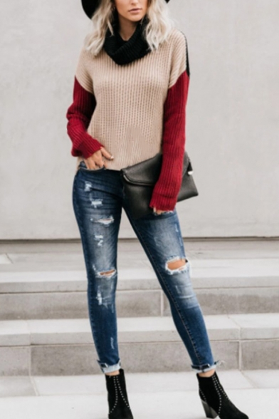 Womens Casual Turtleneck Colorblocked Long Sleeve Ripped Hem Purl-Knit OL Commuting Pullover Sweater