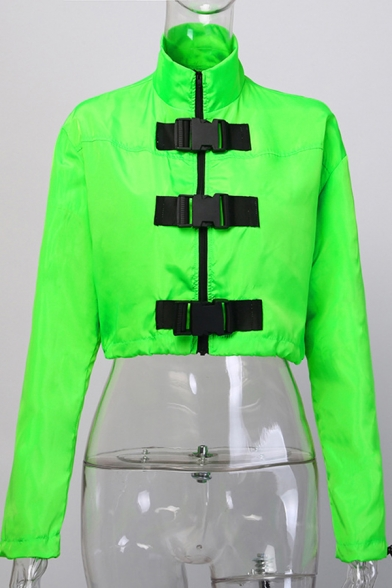 Womens Cool Unique Flourescent Green Long Sleeve High Neck Buckled Front Elastic Cuff Fitted Cropped Jacket