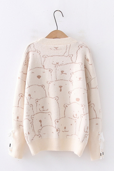 Womens Cute Cartoon Bear Printed Long Sleeve Round Neck Oversized Loose Pullover Sweater Beautifulhalo Com