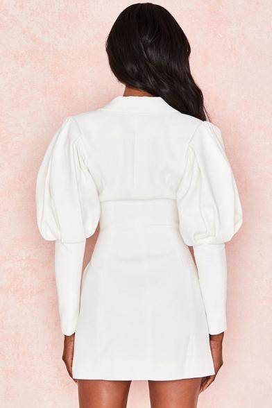 Womens Sexy Single Breasted Puff Sleeve White Slim Fit Longline Blazer Coat