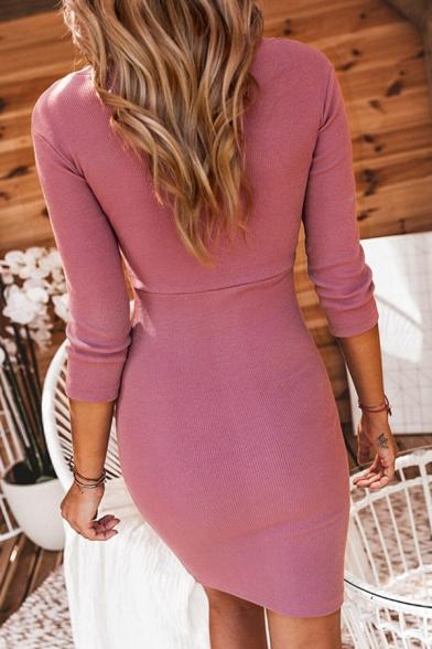 Womens Sexy V-Neck 3/4 Length Sleeve Plain Midi Bodycon Dress