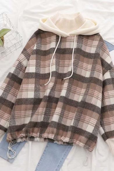 Womens Stylish Colorblock Drawstring Hood Check Pattern Drawstring Hem Baggy Pullover Hoodie