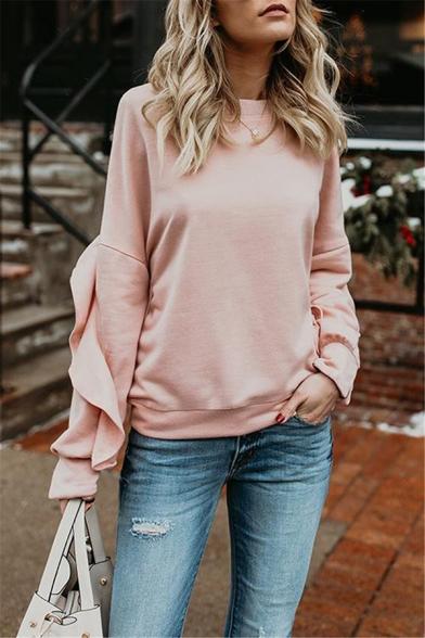 Womens Sweet Style Pink Ruffle Trimmed Long Sleeve Round Neck Regular Pullover Sweatshirt