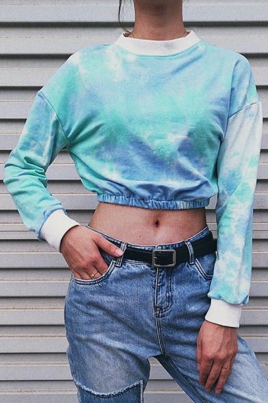 Womens Unique Tie Dye Round Neck Long Sleeve Elastic Hem Cropped Sweatshirt