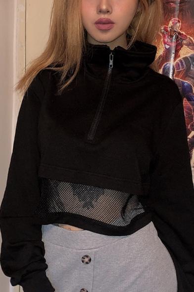 Black Mesh Spliced Lapel Collar Long Sleeve Half Zip Cropped Pullover Sweatshirt