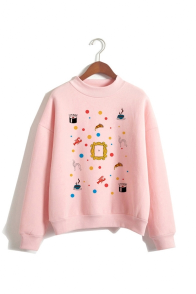 Chic Cartoon Pattern Colorful Dot Printed Long Sleeve Mock Neck Pink Pullover Sweatshirt