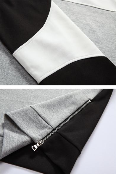 Geometric Panel Long Sleeve Crew Neck Side Zipper Slim Fit Casual Pullover Sweatshirt