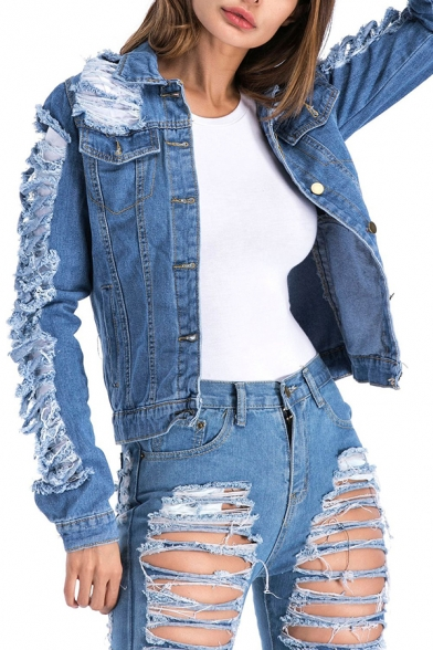Girls Fashion Ripped Shredded Holes Long Sleeve Single-Breasted Slim Fit Denim Jacket Coat