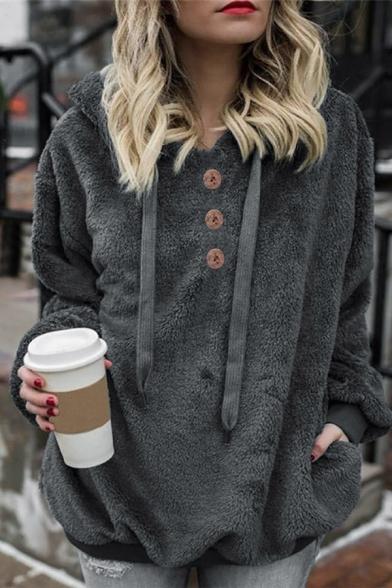 Ladies Simple Plain Long Sleeve Button Decoration Fuzzy Soft Drawstring Hoodie
