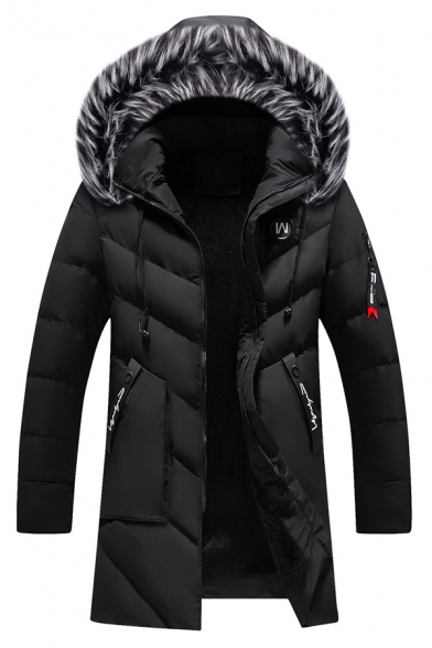 Domple Mens Quilted Faux Fur Hooded Slim Fit Thicken Longline Down Jacket