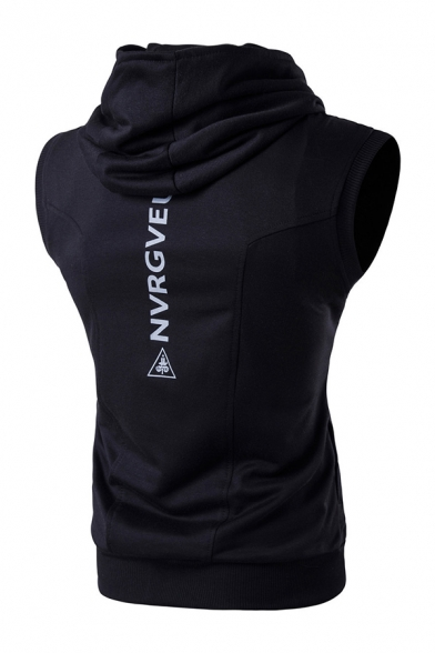 Mens Colorblock Simple Letter Printed Inclined Zip Fitness Sports Vest Hoodie