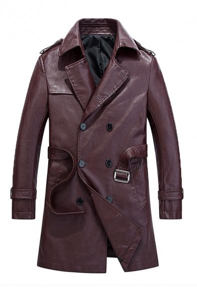 New Trendy Notch Lapel Long Sleeve Adjustable Cuffs Double Breasted Plain PU Longline Jacket Overcoat