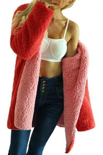 Womens Fashionable Color Blocked Open Font Reversible Longline Hooded Faux Shearling Coat