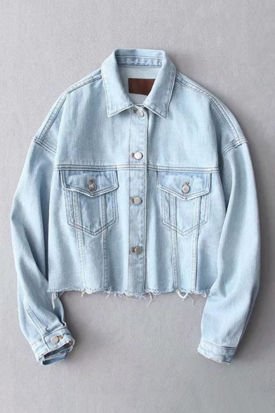 Womens Fashionable Lapel Collar Long Sleeve Button Front Ripped Hem Cropped Denim Jacket