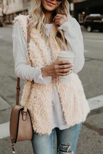 Womens Petite New Trendy Plain Sleeveless Open Front Sherpa Vest