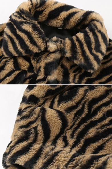 Womens Petite Tiger Faux Fur Long Sleeve Lapel Collar Button Through Crop Jacket