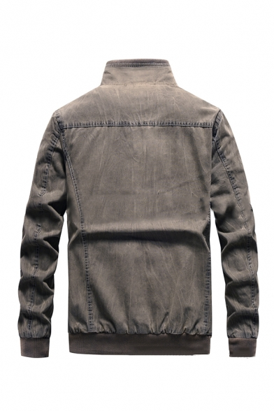 Men's Gray Long Sleeve High Collar Flap Pocket Zip Up Military Jacket with Epaulets