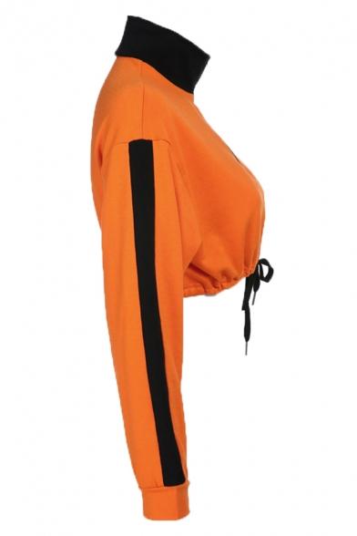 Orange Color Block Tape Long Sleeve Half Zipper Drawstring Hem Casual Cropped Sweatshirt