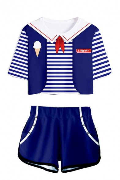 Popular Sailor Suit Cosplay Blue Short Sleeve T-Shirt Top Dolphin Shorts Two Pieces Casual Set, LC567965