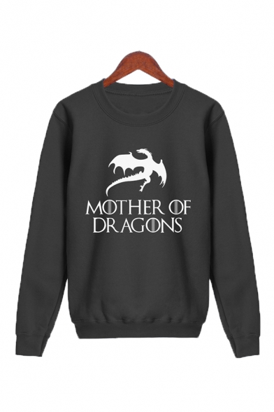 Unisex Popular Letter MOTHER OF DRAGON Printed Long Sleeve Casual Pullover Sweatshirt