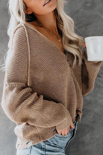 Womens Casual Khaki V-Neck Long Sleeve Pull-Ring Zip Up Oversized Hooded Cardigan Knit Coat