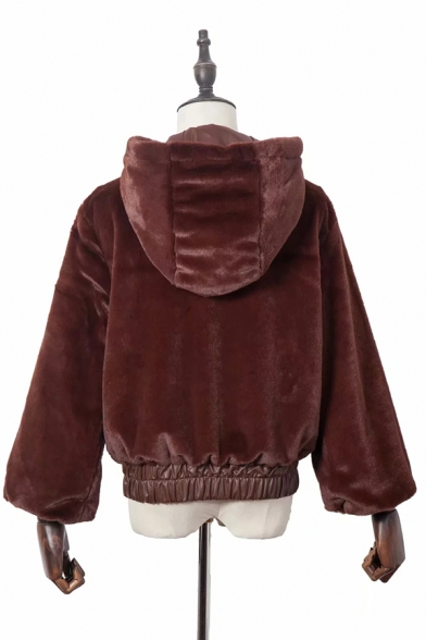 Womens Chic Solid Color Long Sleeve PU Leather Patchwork Hem Zip Up Plush Fleece Cropped Hooded Jacket Coat
