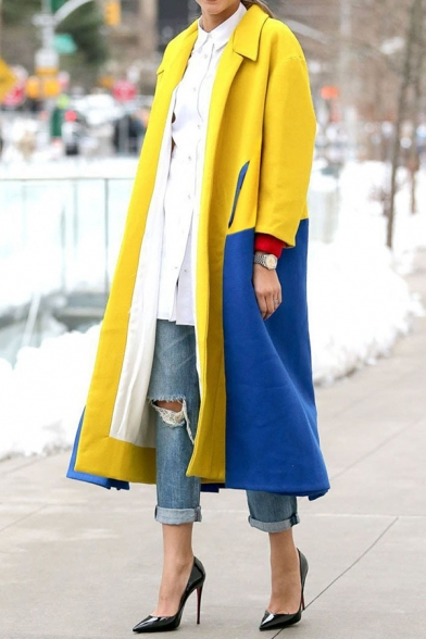 Womens Fashion Color Block Patchwork Fold-Over Collar Long Sleeve Longline Yellow and Blue Wool Overcoat Trench Coat