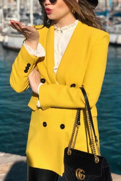 Womens Plain Shawl Collar Long Sleeve Double Breasted Longline Loose Blazer Coat with Flap Pocket