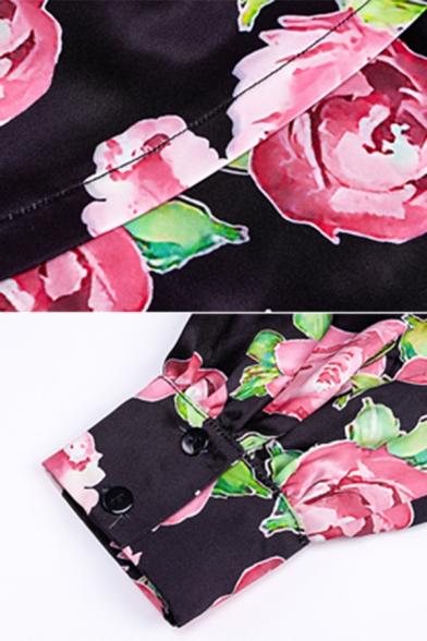 Womens Retro Allover Flowers Pattern Sweetheart Neck Puff Long Sleeve Black Mini Tulip Dress