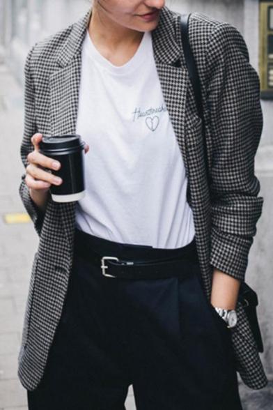 Womens Retro Dark Gray Houndstooth Printed Long Sleeve Single Button Wool Blazer Coat